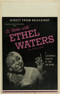 Music Memorabilia:Posters, Ethel Waters Direct From Broadway Concert Poster (William Van SleetAnd Paul Marlin Present, 1953). Extremely Rare....
