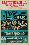 Music Memorabilia:Posters, Dave Brubeck/Sonny Rollins Burras Hall Concert Poster (1958). VeryRare....