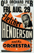 Music Memorabilia:Posters, Fletcher Henderson Old Orchard Pier Concert Poster (circa 1930).Extremely Rare....