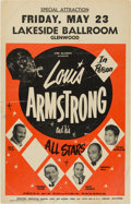 Music Memorabilia:Posters, Louis Armstrong And His All Stars Lakeside Ballroom Concert Poster(1958). Rare....