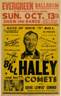 Music Memorabilia:Posters, Bill Haley And His Comets Signed Evergreen Ballroom Concert Poster(1957). Extremely Rare....