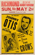 Music Memorabilia:Posters, The Crows/Johnny Otis Richmond Civic Auditorium Concert Poster(1954). Extremely Rare....
