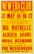 Music Memorabilia:Posters, Big Maybelle New Era Club Concert Poster (1959). Rare....