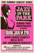 Music Memorabilia:Posters, John Handy Quintet/Bola Sete Jazz In The Park Concert Poster (BoydGrafmyre, circa early 1968)....
