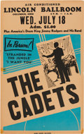 Music Memorabilia:Posters, Cadets Lincoln Ballroom Concert Poster (1956). Extremely Rare....