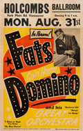 Music Memorabilia:Posters, Fats Domino Holcombs Ballroom Concert Poster (Schwartz Promotions,1959). Very Rare....