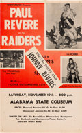 Music Memorabilia:Posters, Paul Revere And The Raiders Alabama State Coliseum Concert Poster(WHHY Presents, 1966). Extremely Rare....