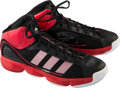 Basketball Collectibles:Others, 2010 Tracy McGrady Game Worn, Signed Detroit Pistons Sneakers....
