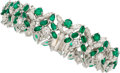 Estate Jewelry:Bracelets, Diamond, Emerald, Platinum Bracelet, Oscar Heyman Bros. . ...