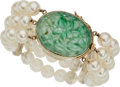 Estate Jewelry:Bracelets, Jadeite Jade, Cultured Pearl, Gold Bracelet, Gump's. ...