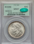 Commemorative Silver, 1936-S 50C Boone MS67 PCGS. CAC. PCGS Population: (68/3). NGCCensus: (35/3). CDN: $750 Whsle. Bid for problem-free NGC/PCG...