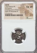 Ancients: EASTERN CELTS. Imitating Alexander the Great (336-323 BC). AR drachm. NGC Choice VF