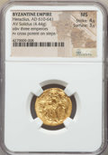 Ancients:Byzantine, Ancients: Heraclius (610-641), Heraclius Constantine, & Heraclonas. AV solidus (4.44 gm). NGC MS 4/5 - 3/5....