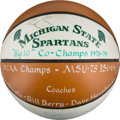 Basketball Collectibles:Balls, 1978-79 Michigan State Spartans Team Signed Presentational-StyleBasketball with Pre-Rookie Magic Johnson Autograph - First Ba...