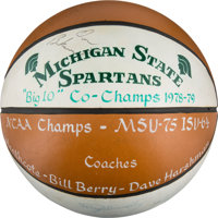 1978-79 Michigan State Spartans Team Signed Presentational-Style Basketball with Pre-Rookie Magic Johnson Autograph - Fi...