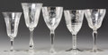 Decorative Arts, Continental:Other , An Assembled Group of Twenty-Six Glass Wine Stems with IntaglioFloral Design, 20th century. 7-1/4 inches high (18.4 cm) (ta...(Total: 26 Items)