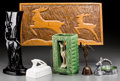 Decorative Arts, Continental, Six Various Wood, Metal, Ceramic and Glass Items with Antelope andDeer Motifs, 20th century. 10-1/4 inches high x 19-3/4 in...(Total: 6 Items)