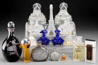Thirteen Glass Perfume Bottles and Cosmetic Jars with Two Associated Flasks and a Decanter, 20th century 9-1/2 inc