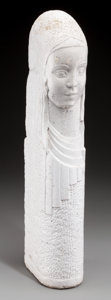Paintings, An Art Deco Painted Concrete Female Bust, 20th century. Marks: Illegible name to underside, dated 1928. 20-3/4 inches hi...