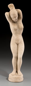 Decorative Arts, Continental, A Danish Cast Stone Figure: Nude Female, 20th century. 16-7/8inches high (42.9 cm). ...
