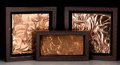Decorative Arts, American, Three Framed Art Deco-Style Copper Clad Plaques, 20th century.15-3/4 h x 15-3/4 w inches (40.0 x 40.0 cm). ... (Total: 3 Items)