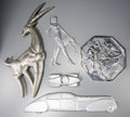 Paintings, Five Art Deco Chromed and Silvered Appliqués: Cars, Diana, Antelope, Pan & Woman, 20th century. 26 inches high (66.0 cm) (ta... (Total: 4 Items)
