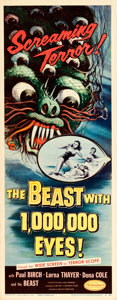 "Movie Posters:Science Fiction, The Beast with 1,000,000 Eyes! (American Releasing Corp., 1955).Insert (14"" X 36"") Albert Kallis Artwork.. ..."