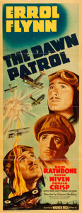"Movie Posters:War, The Dawn Patrol (Warner Brothers, 1938). Linen Finish Insert (14"" X 36"").. ..."