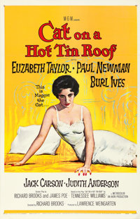 """Cat on a Hot Tin Roof (MGM, 1958). One Sheet (26.5"""" X 41"""") Reynold Brown Artwork"""