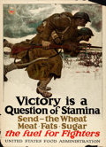 "Movie Posters:War, World War I Propaganda (United States Food Administration, 1917).Propaganda Poster (21"" X 29""). ""Victory is a Question of S..."