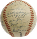 "Autographs:Baseballs, 1951 New York Giants Team Signed Baseball. Whether you rememberthis team for Bobby Thomson's famous ""Shot,"" or for the deb..."