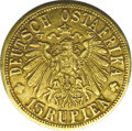 German East Africa: , German East Africa: German Colonial gold 15 Rupien 1916T, F-1,KM16.2, good XF and very well struck for the type. There is a smallobverse rim b...