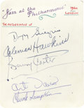 "Music Memorabilia:Autographs and Signed Items, Dizzy Gillespie, Coleman Hawkins, Benny Carter, Art Davis, andChuck Lampkin, Signed ""Jazz at the Philharmonic"" Card, London (..."