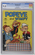 "Golden Age (1938-1955):Cartoon Character, Four Color #70 Popeye and Wimpy - Davis Crippen (""D"" Copy) pedigree (Dell, 1943) CGC VF/NM 9.0 Off-white pages...."