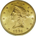 Liberty Eagles: , 1891-CC $10 MS62 PCGS. Sweeping cartwheel luster illuminates this moderately abraded Liberty ten. The honey-gold toning is ...