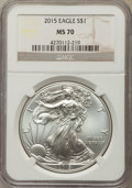 Modern Bullion Coins, 2015 $1 Silver Eagle MS70 NGC. NGC Census: (5651). PCGS Population: (3001). ...