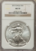 Modern Bullion Coins, 2015 $1 Silver Eagle MS70 NGC. NGC Census: (5649). PCGS Population: (3001). ...