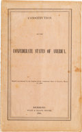 Books:Americana & American History, [Confederate Imprints]. Constitution of the Confederate Statesof America. Adopted unanimously by the Congress of...