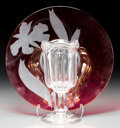 Decorative Arts, Continental, A Cranberry and Frosted Glass Plate with Chalice-Form Vase, 20thcentury. 14-1/8 inches diameter (35.9 cm) (plate, larger). ...(Total: 2 Items)