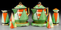 Asian:Japanese, An Eight-Piece Japanese Art Deco Painted Ceramic Tea Service, 20thcentury. Marks: (various marks). 7-1/4 inches high (18.4 ...(Total: 8 Items)