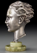 Decorative Arts, Continental, An Art Deco Patinated Metal Male Bust on Green Onyx Base, 20thcentury. 7-5/8 inches high (19.4 cm). ...