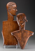 Other, Two Art Deco Carved Wood Mannequin Figures, 20th century. 29-1/2inches high (74.9 cm) (tallest, male). ... (Total: 2 Items)