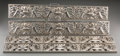 Decorative Arts, Continental, Four Chromed Reticulated Plaques with Dolphin, Foliate, and BouquetMotifs, 20th century. 3-7/8 inches high x 27-5/8 inches ... (Total:4 Items)
