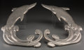 Other, A Pair of Chromed Dolphin-Form Wall Plaques, 20th century. 24inches high (61.0 cm). ... (Total: 2 Items)