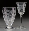 Other, Nine Pieces of Intaglio Glassware with Floral Motif, 20th century.5-5/8 inches high (14.3 cm) (tallest, cordials). ... (Total: 9Items)