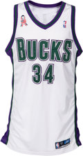 Basketball Collectibles:Uniforms, 2001-02 Ray Allen Game Worn Milwaukee Bucks Jersey - Photo Matchedto Four Games by MeiGray!...