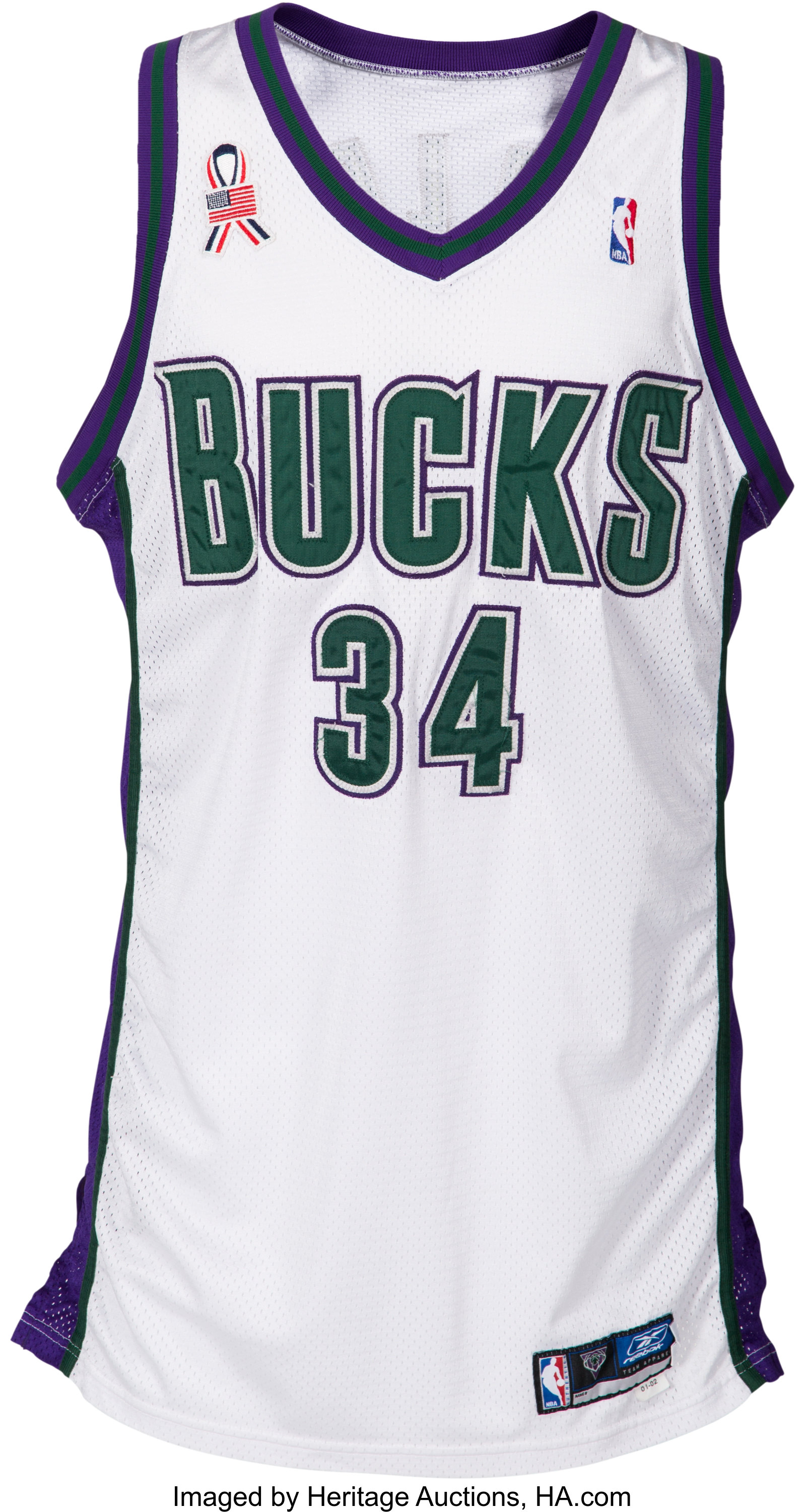 huge discount 4c500 dbff3 2001-02 Ray Allen Game Worn Milwaukee Bucks Jersey - Photo ...