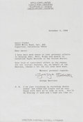 Music Memorabilia:Autographs and Signed Items, Beatles - George Harrison 1968 Typed Letter Signed Regarding theBeatles and Apple Records, in Matted Display. ...