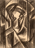Fine Art - Work on Paper:Drawing, János Schadl (Hungarian, 1892-1944). Cubist Head. Charcoalon paper. 24 x 17-1/2 inches (61 x 44.5 cm) (sight). Signed l...