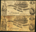 Confederate Notes:1862 Issues, T44 $1 1862 PF-2 Cr. 340 and PF-3 Cr. 341.. ... (Total: 2 notes)